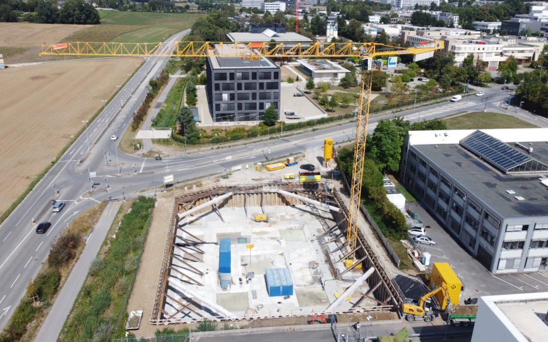 Installation grue de chantier – début du béton armé